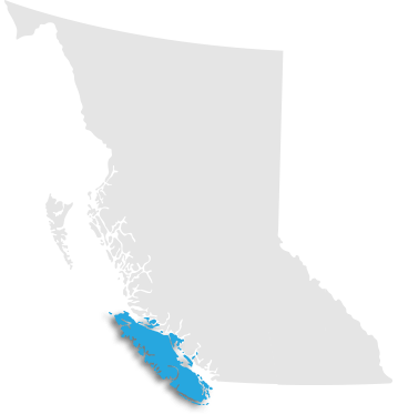 Map indicating Vancouver Island