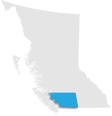 Map indicating Vancouver - Lower Mainland