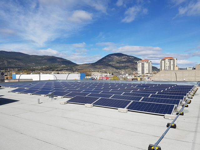 Penticton commercial building with solar on roof.