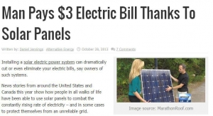 Image of a news article about man paying $3 electricity bill thanks to solar panels