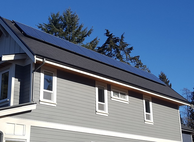 New home with solar power on roof