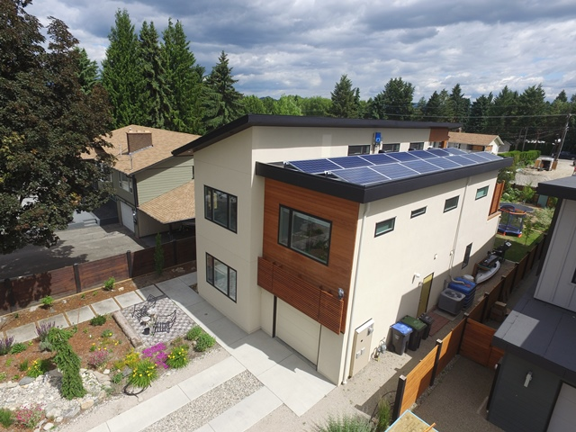 Kelowna home with solar panels on roof