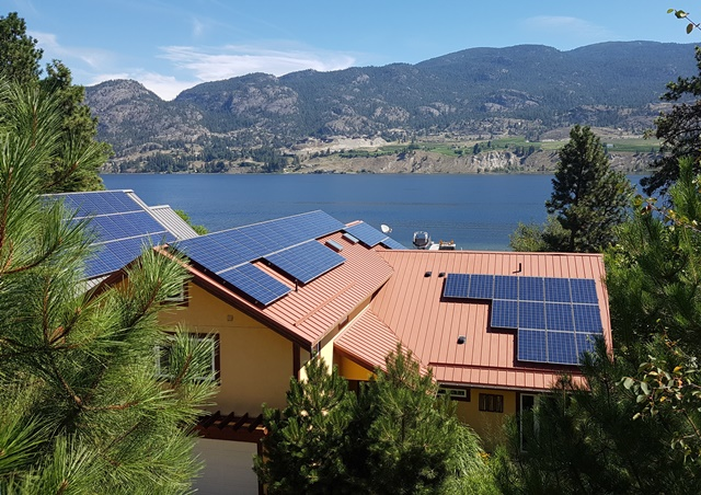 Solar panels on rooftop in the Okanagan.