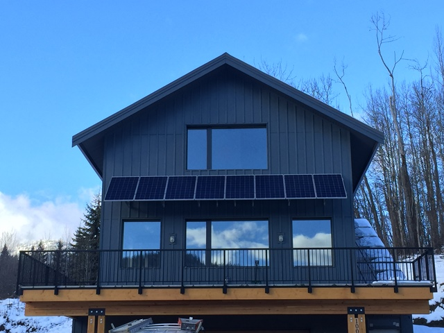 Home solar power system on awning in Rossland