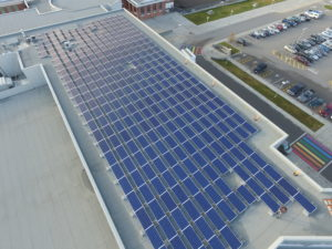 Solar panels on top of Pentiction Secondary School.