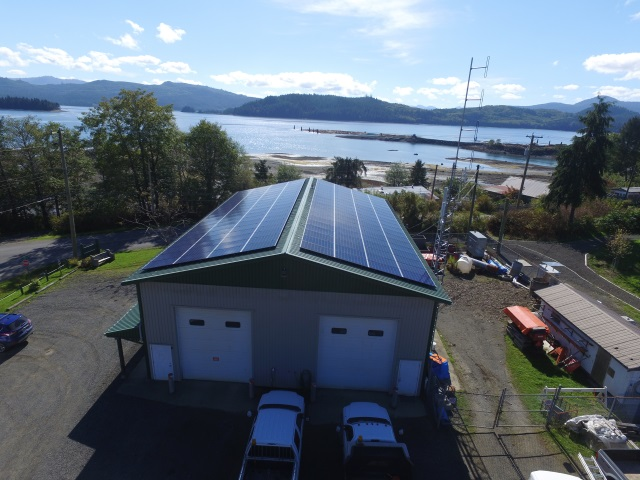 Solar panels on commercial building